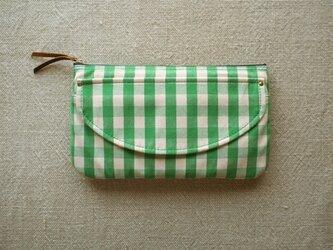 帆布  BIG ポーチ / バッグ イン バッグ / ギンガムチェック 緑の画像