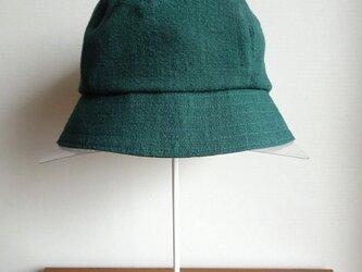 手織り久留米絣:山桃藍の緑の帽子(H-25)の画像