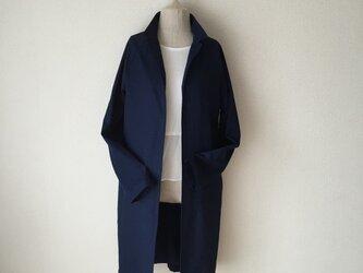 小さい襟のハンサムコート ラグランスリーブ デニム一枚仕立ての画像