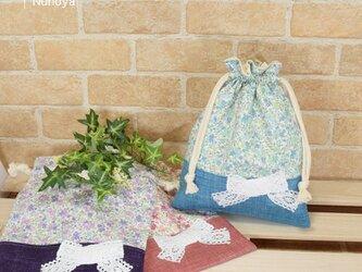 花柄&リボンの給食袋の画像