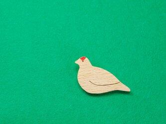 ライチョウ / 雷鳥 木のブローチの画像