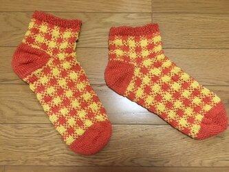 手編み靴下・マシュマロコットンチェック柄・橙の画像