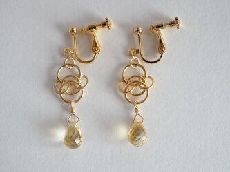 STONE Citrine chain ring earringsの画像