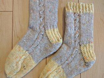 m様オーダー分 手編み靴下 wool100% 野菜染めの画像