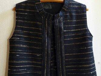 裂き織りベスト W-001(裂き織りブローチ付き)の画像