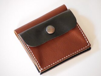 ふたつ折りのお財布[チョコ×ブラック]の画像
