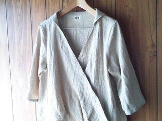 リネンカシュクールシャツ(長袖、七分袖)の画像