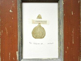 銅版画カード・玉ねぎと小さな山の画像