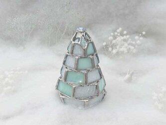 【小さなもみの木ランプ/雪化粧ver.】ステンドグラス・ミニランプ(LEDライト付)の画像