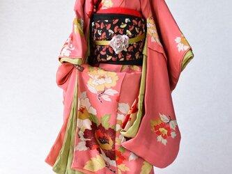 「紅牡丹」舞妓こべべ /リメイク着物の画像