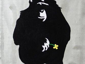一輪の花を持つチンパンジー 黄花 F6サイズ絵画の画像