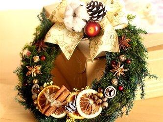 ★2017プリザーブドフラワー白いリボンのクリスマスリース★の画像