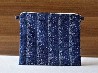 藍染×型染ポーチ(点ストライプ)ショルダー用紐付きの画像