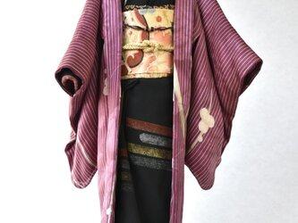 「梅縞紫(羽織)」夢こべべ /リメイク着物の画像