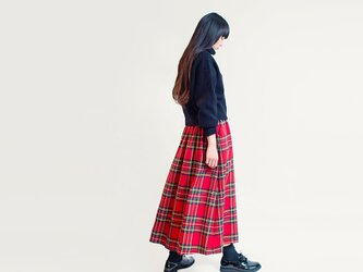 ★RENEWAL★ 秋冬 タータンチェック ウール 赤 緑 紺 黄 ロングスカート ●MARIE●の画像