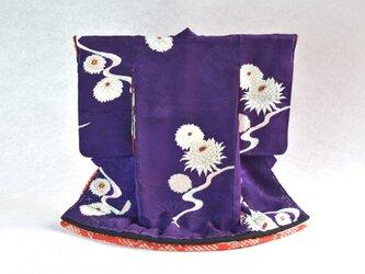 「白牡丹菊 本紫」掛こべべ /リメイク着物の画像
