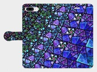 ステンドグラス モチーフ (サファイアブルー) iphone 6plus/7plus/8plus 手帳型スマホケース の画像