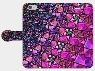 ステンドグラス モチーフ (アメジストパープル) iphone 5/5s/6/6s/SE/7/8/X 専用 手帳型スマホケースの画像