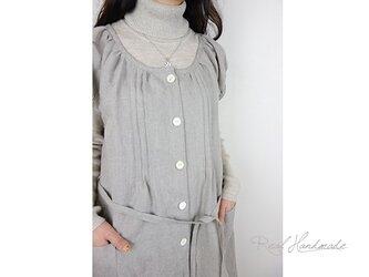 [予約販売] ヨーロッパ亜麻色リネンピンタック羽織りワンピースの画像