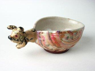 虎のボウル /可愛い子供食器 /陶器 /色絵/練りこみ /キッズ食器 /スープカップ/ 陶芸家が作る可愛い食器の画像