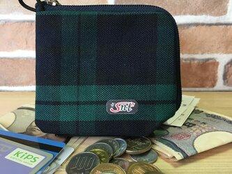 オシャレで機能的!旅に便利な、カード・お札・コイン用 先染め帆布財布 格子の画像