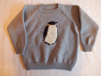 【30%off SALE】*手編みこどもニット*ペンギンの画像