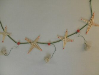 麦藁細工のガーラント 大きい星と小さな星の画像