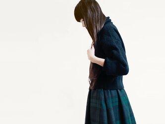 ★RENEWAL★ 秋冬 ウール 濃紺×緑 タータンチェック ロングスカート ●ANNA●の画像