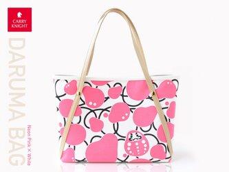 DARUMA BAG 〈 Neon pink × White 〉の画像