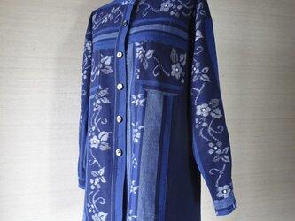 手織り久留米絣:段染め入り椿の立て襟プラウス(W-14)の画像