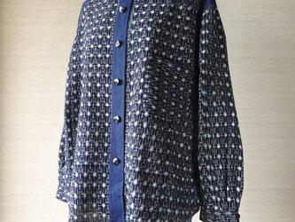 手織り久留米絣:変わり十字のシャツ・プラウス(W-15)の画像