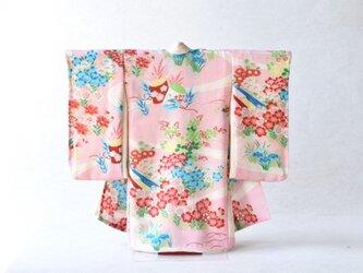 「薄桜色 青赤花文様」掛こべべ ~涼み~ /リメイク着物の画像