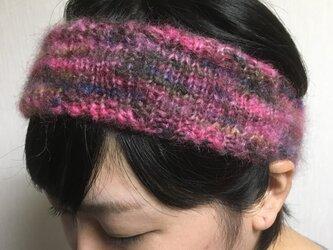 モヘアのヘアーバンド【ピンク系】の画像