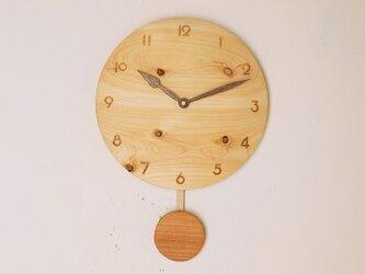 木製 振り子時計 桧材2の画像