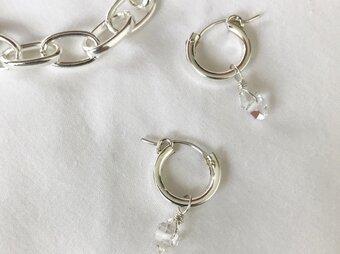 NYハーキマーダイヤモンドのフープピアス(SV925 Filled)の画像