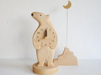 シロクマ君と月 置き時計の画像