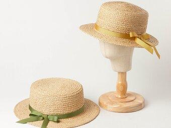麦わらカンカン帽 子供用 多色リボン 天然草編み 夏の麦わら帽子の画像