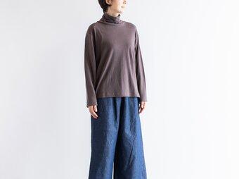 コットンリネン タートルネック L/S Tシャツ(チャコール)Heavenly 2059164の画像