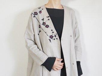 リネン・羽織り ベージュ <墨梅>の画像