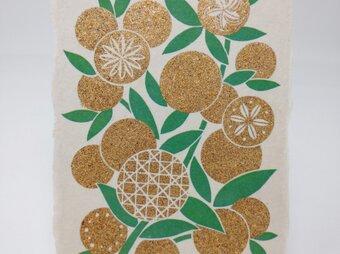 ギルディング和紙葉書 みかん 黄混合箔の画像