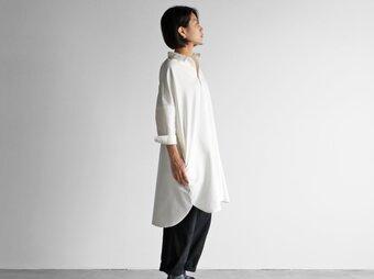 スヴィンオックスフォードロングシャツ(アイボリー)【ユニセックス】004の画像