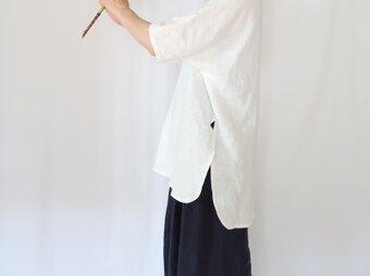 掲載品♡夏のリネンプルオーバー♡ラウンドヘム&ロング丈♡ホワイトリネン♡シンプルコーデ・おうち時間の画像