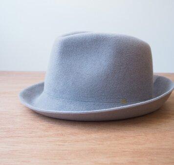 【受注製作】Fur Velour Soft Hat - grey × yellowの画像