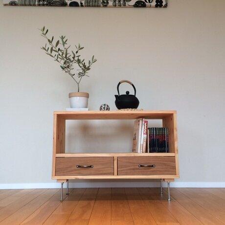 桧×楢(オーク) 使い勝手のよいサイドテーブルWサイズの画像
