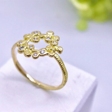 ◆K18◆ フラワーリースのようなリングの画像