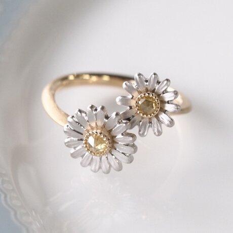 イエローダイヤモンド/カモミール指輪の画像