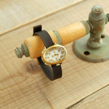 【受注生産】まるいゆらぎの時計 O dot white_f Y002_fの画像