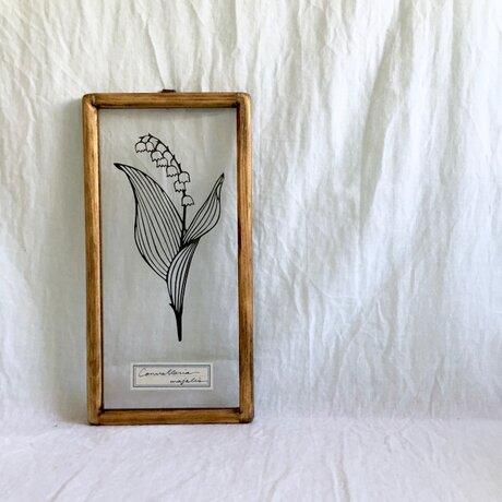 【植物標本シリーズ】スズランの切り絵フレームの画像