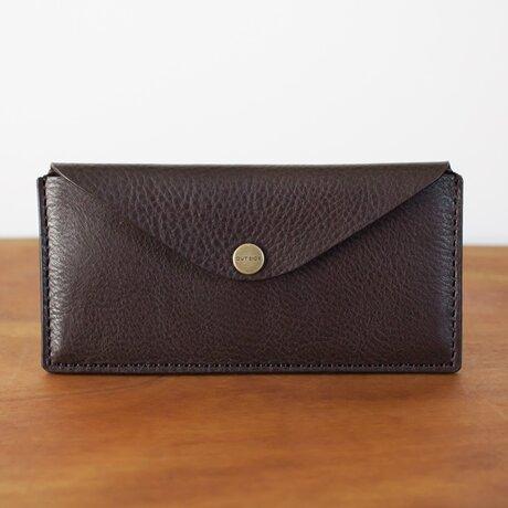 イタリア製牛革のスリムな長財布 2 / チョコ※受注製作の画像
