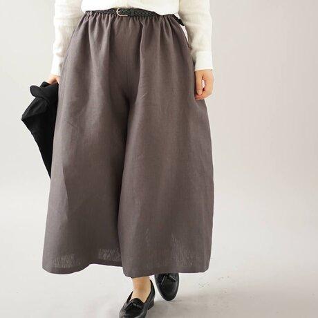【wafu】中厚 リネンパンツ 先染め ワイドスカーチョ キュロットパンツ ボトムス 半端丈/黒橡 b002a-ktb2の画像